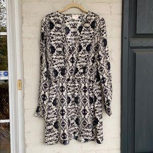 Parker silk print surplice neckline dress